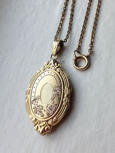 Antique Art Deco Oval Ornate Gold Filled Locket Necklace, Wedding Locket Necklace, Hayward Locket