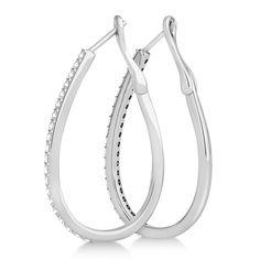 3.70Ct Pear Cut VVS1 Sparkle Diamond Hoop Dangle Earrings 14K White Gold