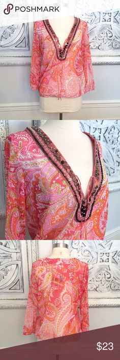 INC Beach Paisley Mesh Top! NWT Sz. M. Super cute orange and pink paisley top. Jeweled neckline. Nylon, so sheer. Brand new with tags. So cute with white pants/shorts.. Smoke free, clean home. INC International Concepts Tops Tees - Long Sleeve