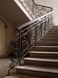 Кузнечные штуки Wrought Iron Stairs, Entry Stairs, Steel Stairs, Stairways, Exterior Design, House Design, Villa, Modern, Home Decor