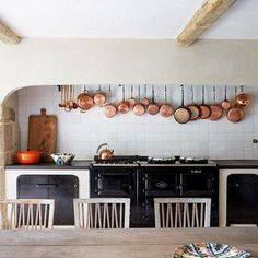 Modern Country Kitchen with Black Aga in Kitchen Design Ideas. A modern country kitchen with Aga, exposed beams and stone counters within family home in restored and modernised barn.