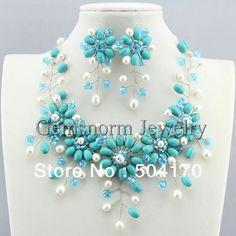 Wire Jewelry, Beaded Jewelry, Jewelery, Unique Jewelry, Stone Necklace, Necklace Set, Wedding Jewelry Sets, Handmade Flowers, Aliexpress