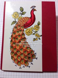 Gettin' Crafty Stampin' with Jamie: Exotic and Colorful Peacock hand-stamped, ombré colored card