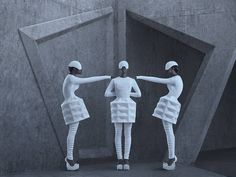 IIMUAHII Couture Lookbook 2015  For her Couture Lookbook 2015 IIMUAHII offers us a futuristic photo series taking place in a 3D concrete structure in the middle of the sea. Overhang by a stormy sky these floating structures shelter static models wearing sculptural costumes very typical of the designers style.              #xemtvhay