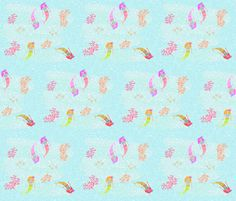 Mermaids 7 - blue shimmer fabric by drapestudio on Spoonflower - custom fabric