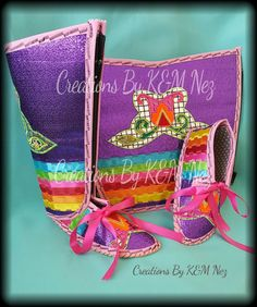 Fabric Applique Legging & Moccasins Set by CreationsByKMnez Bead Patterns, Craft Patterns, Sewing Tips, Sewing Hacks, Jingle Dress, Candy House, Native Beadwork, Native Style, Legging