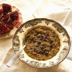 Turmeric & Saffron: Ash-e Anar - #Persian Pomegranate Soup with Fresh Herbs and Mini Meatballs [ground meat (lamb, beef or turkey), yellow split peas, garlic, bunch of: parsley, cilantro, scallions. pomegranate molasses, turmeric, pomegranate seeds]
