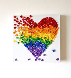 3D Rainbow Butterfly Art / 3D Butterfly wall Art/ by RonandNoy
