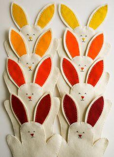 Como fazer fantoche de coelho de feltro para a Páscoa