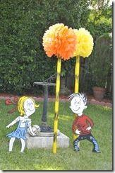 Yard decor for Seuss party, Sally & Conrad, Truffula Trees