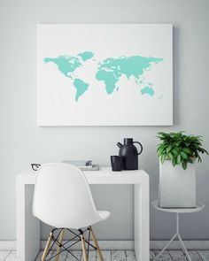 Geometric Print, Digital Art Print, Map Of The World, Abstract Wall Art, Unique Gift Ideas, Mint And White Art, Instant Art Download by ShabbyShackStudio on Etsy