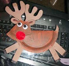 Paper plate reindeer-- directions at http://jenny.chmara.net/c8.htm