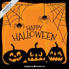 Orange background with pumpkins and spiders Free Vector