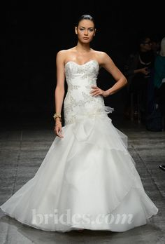 Brides: Jim Hjelm - Spring 2013. Strapless beaded trumpet wedding dress with a sweetheart neckline and ruffle detail at the hip, Jim Hjelm