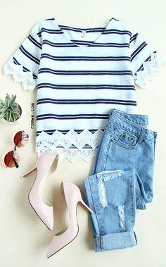 V Neck Striped Lace Trim T-shirt