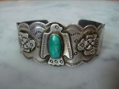 Harvey Era Thunderbird Sterling Bracelet Cerillos Green Turquoise Stamped Cuff