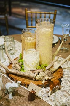 Lace and Burlap Wedding Reception Table Accents Burlap Wedding Decorations, Table Decorations, Elegant Wedding, Rustic Wedding, Woodland Wedding, Wedding Burlap, Burlap Lace, Whimsical Wedding, Wedding Inspiration