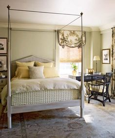 Decorating Ideas: Beautiful Neutral Bedrooms - Traditional Home® I like the dark desk and chair and the lighter colors on everything else. Serene Bedroom, Pretty Bedroom, Beautiful Bedrooms, Glamorous Bedrooms, Beautiful Homes, Bedroom Desk, Home Decor Bedroom, Room Decor, Teen Girl Bedrooms