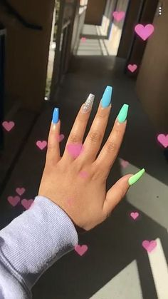 Nails Glitter Purple パープルネイルのアイデア 36 Ideas For 2019 Summer Acrylic Nails, Best Acrylic Nails, Acrylic Nail Designs, Acrylic Nail Art, Acrylic Nails Green, Neon Blue Nails, Lime Green Nails, Blue Coffin Nails, Colorful Nails