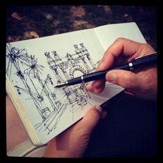end of #sketch crawl at #bcn2013usk #moleskine in #barcelona