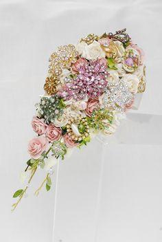 Flowers and gems wedding bouquet - Pink and Green Bouquet Brooch Bouquet
