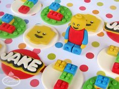 Lego blocks cupcake toppers