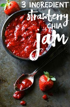 Strawberries + maple syrup + chia seeds = DELICIOUS strawberry jam! | Strawberry Chia Jam from The Make Ahead Vegan Cookbook by Ginny Kay McMeans