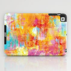OFF THE GRID Colorful Pastel Neon Abstract Watercolor Acrylic Textural Art Painting Nature Rainbow iPad Case by EbiEmporium - $60.00 iPad Case Protective Tech Device CoverColorful Pastel Abstract, Neon Fine Art Watercolor Acrylic Painting, Textural Artwork, Feminine, Girly Rainbow, Hot Pink, Pastel Pink, Tangerine Orange, Turquoise Blue, Bold Happy, Modern Chic Cheerful Teen Girl, Gift for Her Whimsical Brushstrokes
