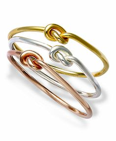 Studio Silver Sterling Silver Rings Set, Multi-Tone Knot Rings - Rings - Jewelry & Watches - Macy's