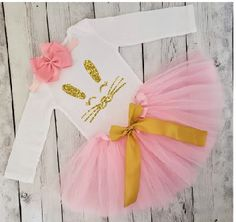 Easter Rabbit 1st Top Rainbow Chevron Pettiskirt Baby Girl Clothing Set Nb-12m