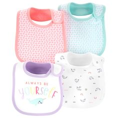 Carter's Baby Girls Printed Bibs - Multi Help keep baby neat and tidy with this four-pack of colorful bibs from Carter's, designed with convenient stay-put closures. Carters Baby Girl, Baby Boy Newborn, Teething Bibs, Cute Baby Clothes, Babies Clothes, Babies Stuff, Baby Alive, Burp Cloths, Baby Bibs