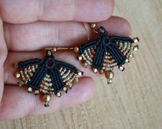 large tribal hoop earrings ethnic earrings boho by yasminsjewelry Diy Macrame Earrings, Tribal Earrings, Macrame Jewelry, Beaded Earrings, Statement Earrings, Crochet Earrings, Turquoise Earrings, Bohemian Jewelry, Micro Macramé