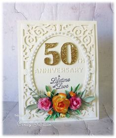 Golden 50 by frenziedstamper – Cards and Paper Crafts at Splitcoaststampers Cindy Gilfillan – Tarjeta dorada del 50 aniversario 50 Wedding Anniversary Gifts, Golden Anniversary, 50th Birthday Cards, Birthday Cards For Women, Wedding Shower Cards, Wedding Cards, Making Ideas, Christmas Cards, Lime