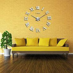 2016 hot chegada real Digital espelho relógios relógio de parede grande sala moderna de quartzo de metal transporte livre casa decoração relógio