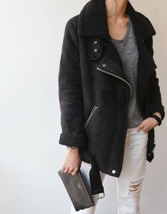 Inspiration for my black leather jacket (in the same style but shorter cut):    Oversized heather gray shirt  White or cream skinnies  Black low-top boots