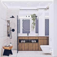 Industrial bathroom / gray bathroom / blue door Grey Bathrooms, Bathroom Gray, Industrial Bathroom, Doors, Mirror, Modern, Anna, Blue, Furniture