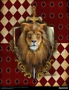 Bravery - inspired by the Harry Potter Series. Bravery Inspirded by Gryffindor is one of the four Houses of Hogwarts School of Witchcraft and Wizardry, founded by Godric Gryffindor. This painting was my depiction of the Gryffindor house crest. This crest is painted with the house colors Crimson Red and Gold . It is accompanied with the house animal the Lion and Godric Gryffindor's sword.