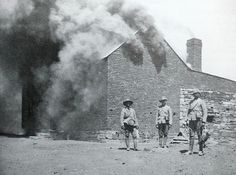 British soldiers burning a homestead.British soldiers after a hard days work: burning and looting farmsteads, interspersed with shooting livestock.