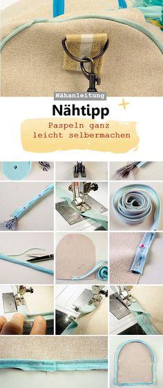 Paspel selber Nähen, einfach, Nähtipp, schnell, Kordel, Schrägband #Nähtipp #Paspel #DIY