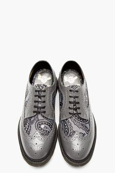 DR. MARTENS Grey Leather Paisley Longwing Brogues