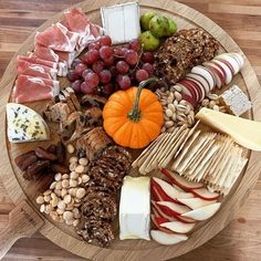 """Williams Sonoma on Instagram: """"We'll take cheese 🧀 and wine 🍷 over candy. @feast_withyoureyes assembled these savory treats on our Boska Round Cheese Board. Shop link in…"""" Charcuterie Board, Williams Sonoma, Appetizers For Party, Holiday Recipes, Tapas, Thanksgiving, Cheese, Meals, Dinner"""