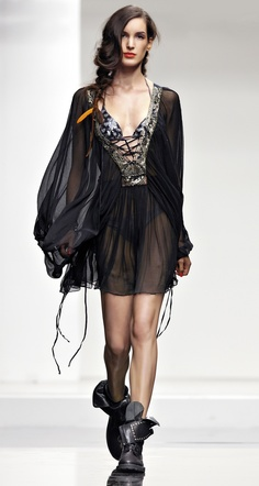 TWIN-SET Beachwear collection: Tulle dress with embroidery on the neck and leather combat boots