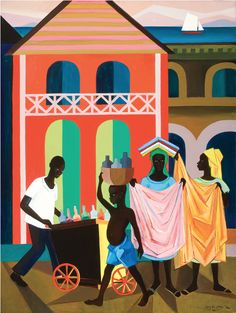 Street Vendors, Haiti (1978). Painting by Lois Mailou Jones. Lois Mailou Jones came to fame as a painter during the latter stages of the Harlem Renaissance in the 1930s. In addition to being a painter with many diverse styles, she was a talented textile designer and did a number of book and magazine covers. There's a wonderful website filled with rich imagery and details about her life: http://www.loismailoujones.com/.