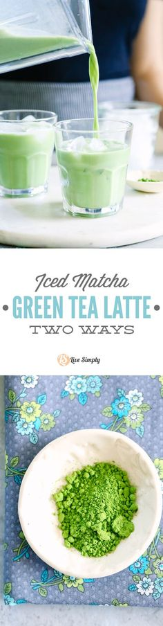 """Yum! I love matcha drinks, but I hate the coffee shop price. I can't believe how easy it is to make a matcha drink at home. This recipe includes two options: an iced """"latte"""" (matcha milk) or a frappucino-style drink."""