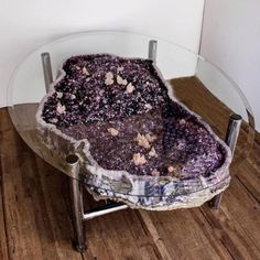 Stunning large Amethyst geode coffee table attached as a luxury coffee table. Natural citrine geode coffee table that is cradled on the tailor. Resin Crafts, Resin Art, Crystals And Gemstones, Stones And Crystals, Gem Stones, Crystals Minerals, Crystal Furniture, Creation Deco, Crystals In The Home