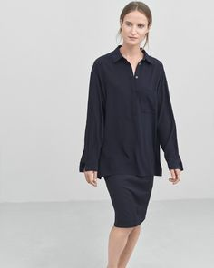 Crinkle Silk Pull On Blouse Navy