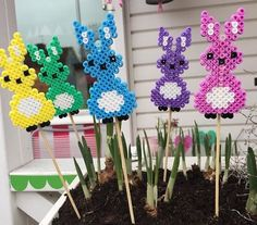 Easter bunnies hama perler beads by Perler Bead Templates, Diy Perler Beads, Perler Bead Art, Hama Beads Design, Hama Beads Patterns, Beading Patterns, Bunny Crafts, Easter Crafts, Bead Crafts