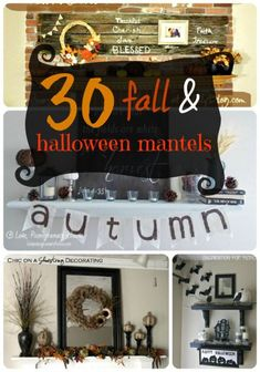 30 Fall & Halloween Mantels -- Tatertots and Jello #DIY #Fall