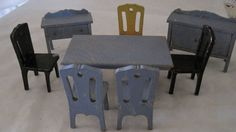 Vintage Strombecker? wood dollhouse furniture - 8 pc. dining room #Strombecker