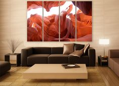 Arizona Canyon Canvas Print 4 Panels Print Wall Decor Wall Art Canyon Gorge Photography Print for Home and Office Wall Decoration by ZellartCo TAGS america antelope canyon canyon gorge canyon photography arizona landscape photography usa canvas print large canvas wall art abstract art split canvas